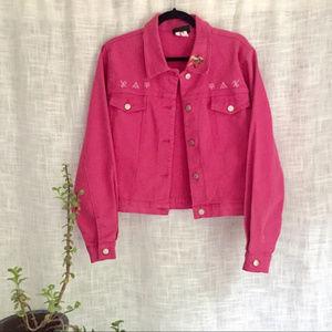 Roper Embroidered Pink Denim Jacket